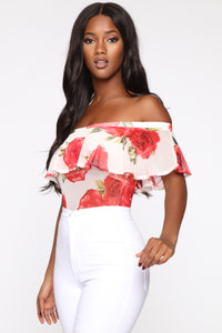 Floral Around Mesh Bodysuit - Ivory Angle 4