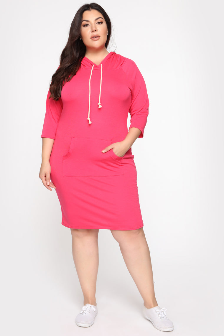 We're Just Chillin Hoodie Dress - Deep Coral