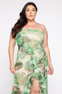 West Palms Tropical Maxi Dress - Green/Multi