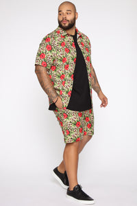 Spotted Floral Volley Trunk - Tan/Multi