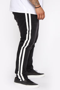 Arthur Striped Skinny Jean - Black Angle 7