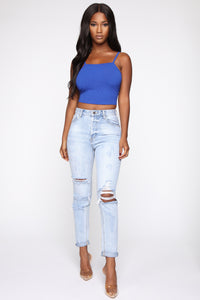 I'm Not Your Girl Distressed Mom Jeans - Light Blue Wash Angle 1