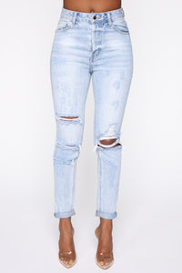 I'm Not Your Girl Distressed Mom Jeans - Light Blue Wash Angle 2