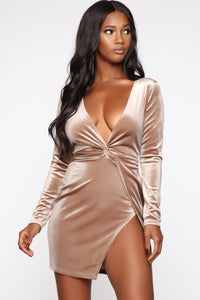 Sugar Coat Velvet Dress - Taupe