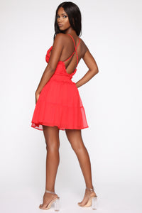 Secrets Make Friends Ruffle Mini Dress - Red