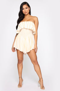 Line At A Time Stripe Romper - Yellow
