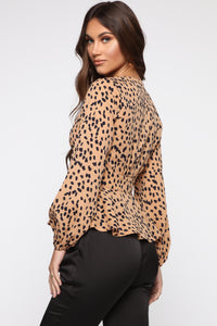 Not Over This Blouse - Brown/Combo