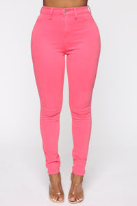 Emma Super Stretch High Rise Skinny Jean - Coral