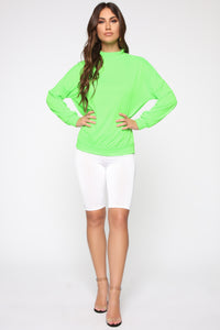 Hello Mock Neck Top - Neon Green