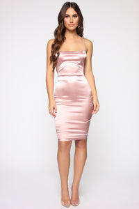 Fantasy Dream Satin Dress - Mauve Angle 3
