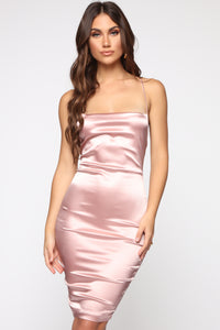 Fantasy Dream Satin Dress - Mauve Angle 2