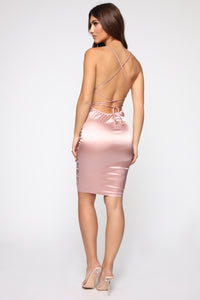 Fantasy Dream Satin Dress - Mauve Angle 5