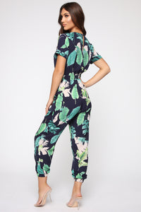 Relax In The Tropics Jumpsuit - Navy/Combo Angle 4