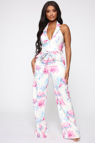 Collared Halter Sleeveless Tie Waist Waistline Backless Belted Jumpsuit