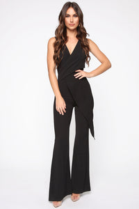 Head Held High Asymmetrical Jumpsuit - Black Angle 1