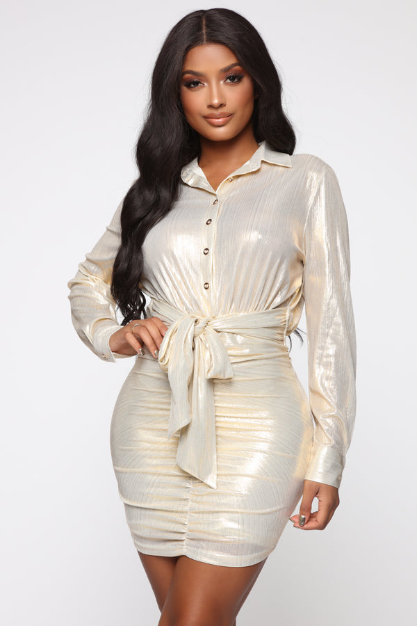 e72dfa347 Your Favorite Girl Mini Dress - Gold