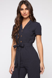 French Talk Jumpsuit - Navy/White