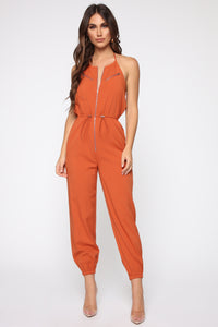 Keep Up Halter Jumpsuit - Rust Angle 1