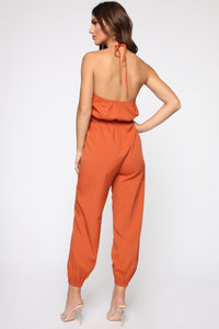 Keep Up Halter Jumpsuit - Rust Angle 4