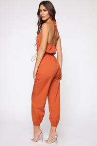 Keep Up Halter Jumpsuit - Rust Angle 3