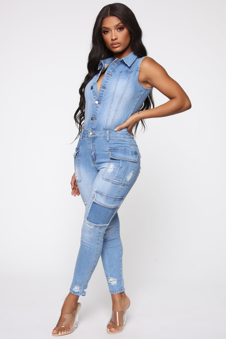 Samantha Distressed Denim Jumpsuit - Medium Wash