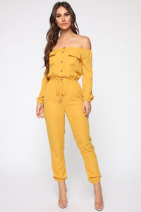 Jump For An Adventure Jogger Jumpsuit - Mustard Angle 1