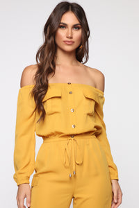 Jump For An Adventure Jogger Jumpsuit - Mustard Angle 2