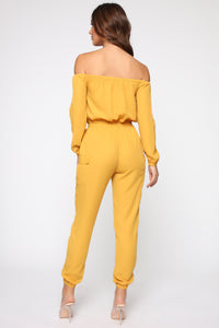 Jump For An Adventure Jogger Jumpsuit - Mustard Angle 4
