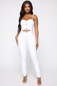 Jolleen Denim Jumpsuit - White