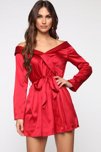 Soft Nights Off Shoulder Mini Dress - Dark Red