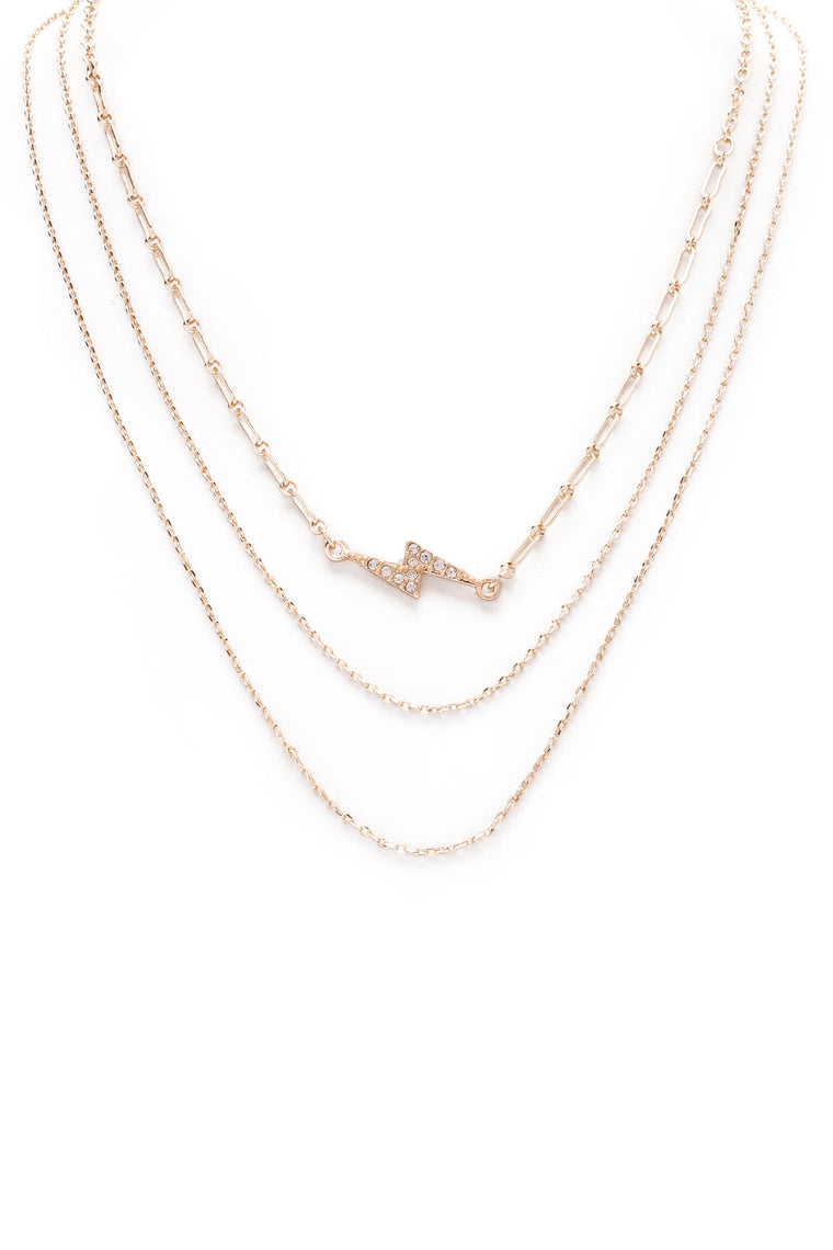 Bolt Out Layered Necklace - Gold