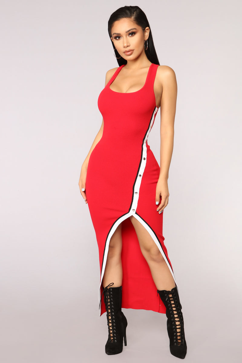 Cover All Bases Dress - Red