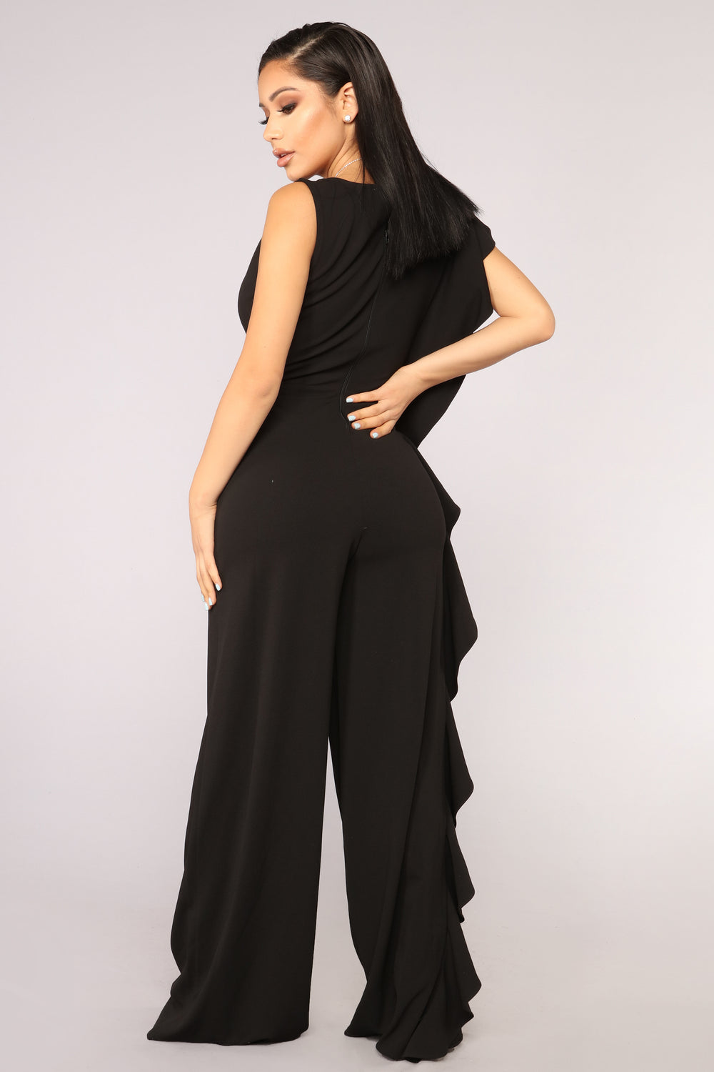 First Class Desires Ruffle Jumpsuit - Black