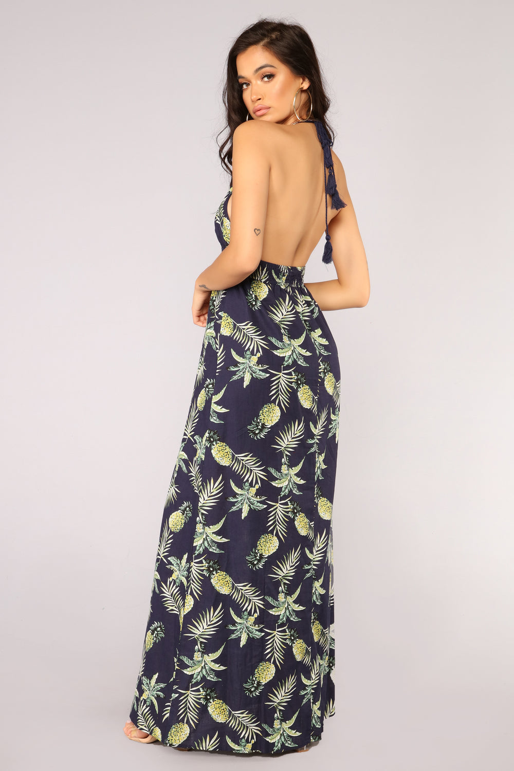 Pineapple Skies Maxi Dress - Navy