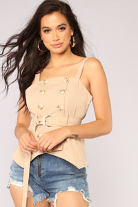 I Want To Push Your Buttons Top - Khaki