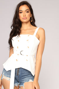 Pushin' Your Buttons Top - White