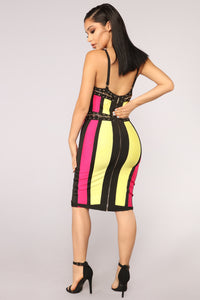 Babe Of Bel Air Bandage Dress - Yellow
