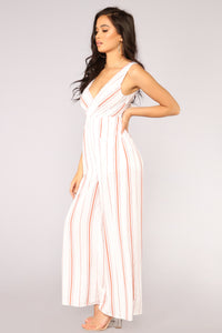 Stomping Grounds Stripe Jumpsuit - Rust