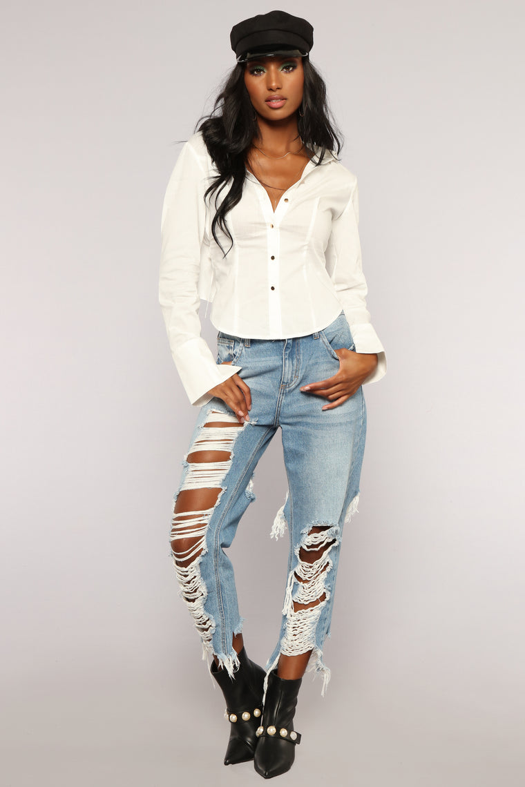F 'N Down Button Down Top - White
