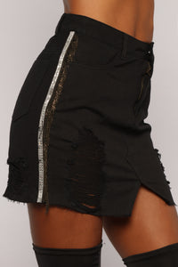 Charlie Distressed Denim Skirt - Black