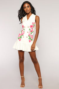 Be A Boss Blazer Dress - White