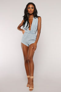 Astraea Striped Romper - Blue