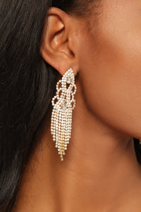 Ice Cold Rhinestone Earrings - Gold