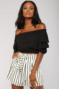 Tomorrow Never Came Off Shoulder Top - Black