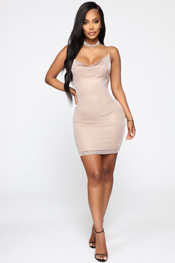 4971d68d39d91 Living To Shine Metallic Mini Dress - Rose Gold. Notify Me When Available