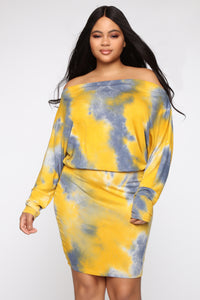 Dolman Daze Tie Dye Mini Dress - Mustard/combo