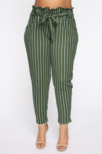 Handling Business Stripe Pants - Olive/Combo