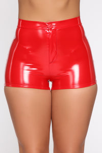 I Want It All Latex Shorts - Red Angle 4