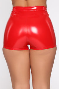 I Want It All Latex Shorts - Red Angle 6