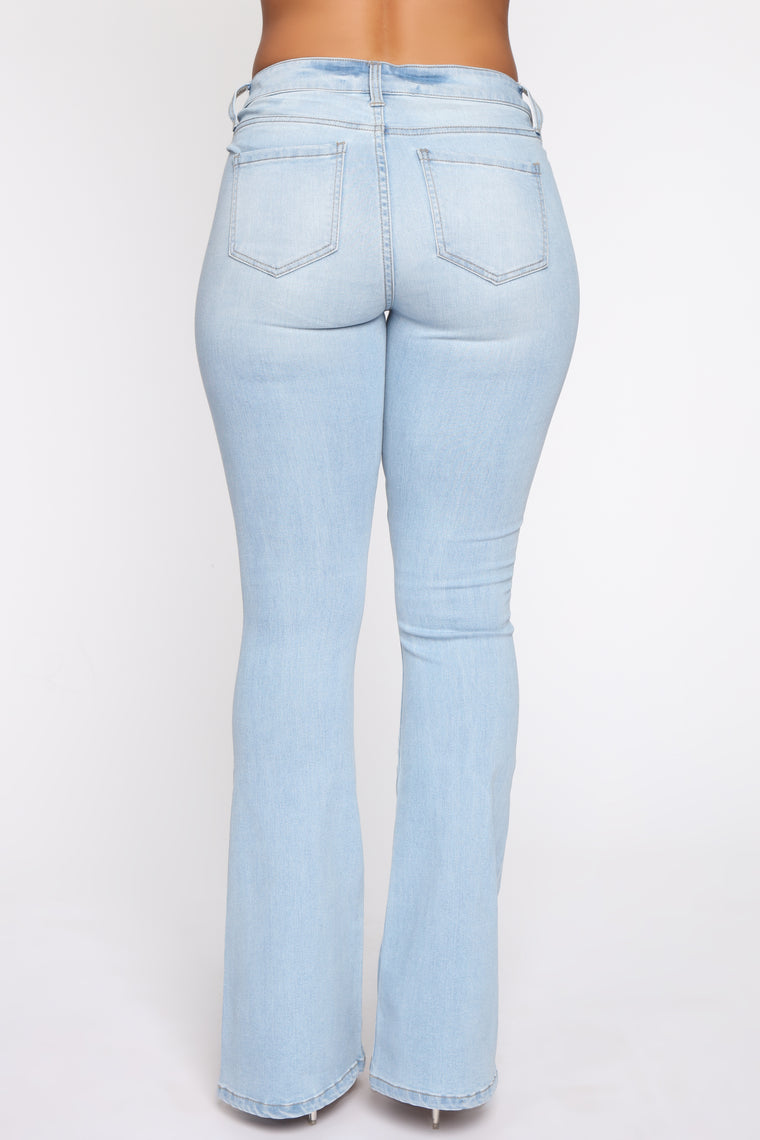 Jolene Low Rise Distressed Flare Jean - Light Blue Wash